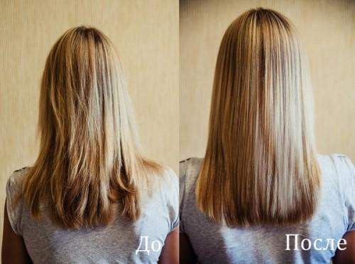 Касторовое масло для волос до и после