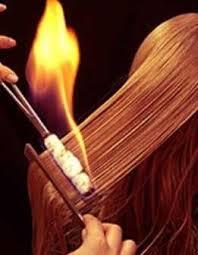 Процедура лечения волос огнём